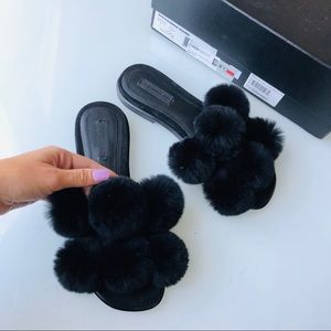 ☯️SOLD☯️ Wang rabbit fur sandals size 36 / 6